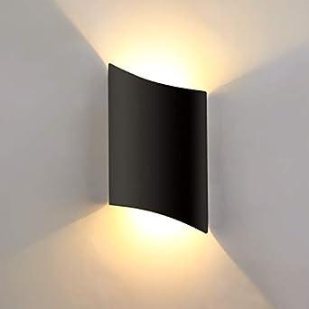 Lightess Apliques de Pared Exterior LED Impermeable IP66 16W Luz de Pared Pasillo Lámpara de Pared Moderna Iluminación para Sala de Estar, Pasillo, Escaleras, Puerta (negro, 16w, blanco cálido): Amazon.es: Iluminación