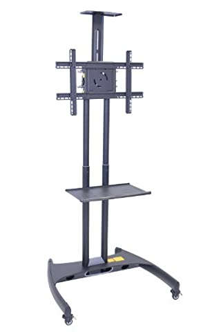 LUXOR FP2750 Presentation Station, 3-Shelf and Nickel Legs, Cabinet and Black Side Pull-Out Shelf, Tuffy, Hunter - Buhl Flat