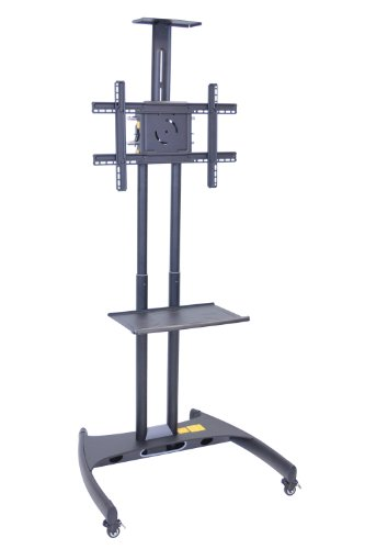 Lcd Luxor (LUXOR FP2750 Presentation Station, 3-Shelf and Nickel Legs, Cabinet and Black Side Pull-Out Shelf, Tuffy, Hunter Green)