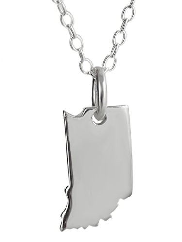 Sterling Silver US Indiana State Charm Necklace, 18 Inch