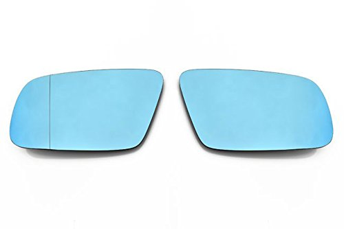 OriginalEuro Euro Wing Tinted Blue Heated Anti Blind Spot Mirror Glass for Audi A4 B5 A6 C5 A8 D2 ()