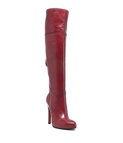 PoiLei Vivian - chaussure femme / superbes cuissardes en cuir à talon aiguille haut - compensé avec bout pointu rouge
