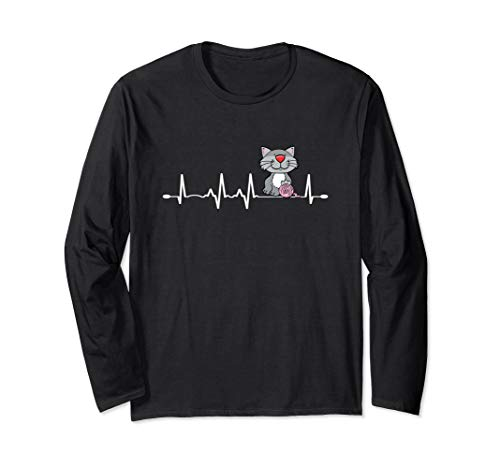 Love Cats & Knitting Heartbeat Design Crochet Knit Yarn Gift Long Sleeve T-Shirt