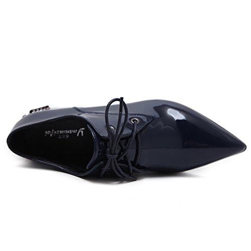 AdeeSu Womens Grommets Chunky Heels Bandage Urethane Oxfords Shoes Blue coxn5eq5yR
