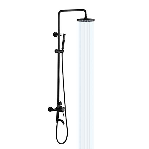 KES Shower System Set Bathroom SUS 304 Stainless Steel Rainfall Shower Head Adjustable Shower Head Bar Shower Hose Mix Valve Faucet 3 FUNCTION Matte Black, XB6650D-BK