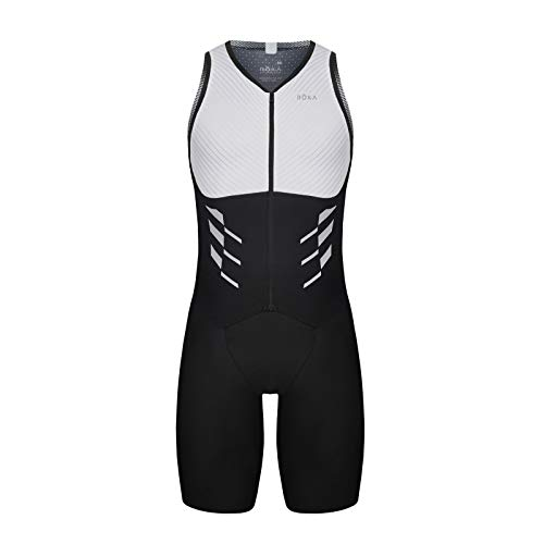 (ROKA Men's Gen II Elite Aero Sleeveless Triathlon Sport Suit - White/Black - X-Large)