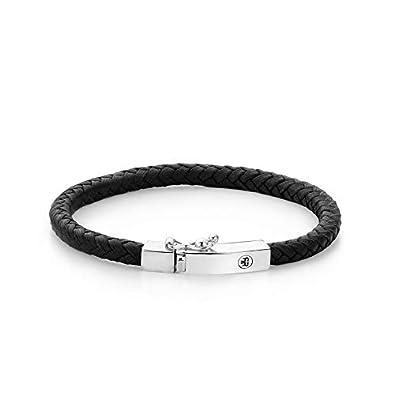 dabda607c51bd4 Rebel and Rose pour homme bracelet cuir noir de RR l0009 S: Amazon ...