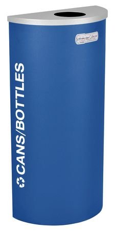 8 gal. Recycling Container Semi-Round, Blue Steel & Plastic by Tough Guy
