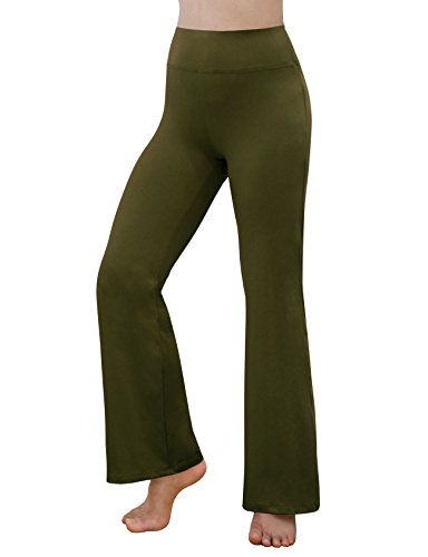 (REETOYO Women's Power Flex Tummy Control Workout Yoga Boot Cut Flares Pants with Inner Pocket, Olive, X-Large)