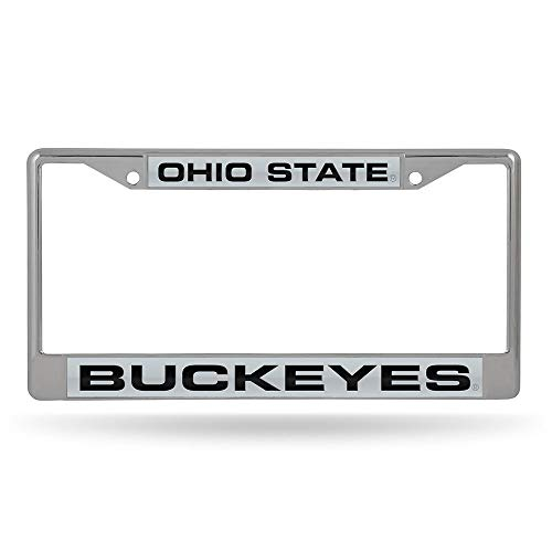 (Rico Industries NCAA Ohio State Buckeyes Laser Cut Inlaid Standard License Plate Frame, Chrome, 6