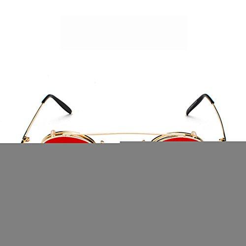 Gafas Dorado Circle Inlefen sol Rojo Gafas Clamshell Desmontables Sunglasses Retro de XXYfwqv