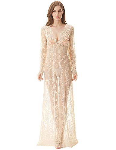 cunlin Cover Up for Women Sexy See Through Lace Gown Maxi Maternity Dress Photography Props Beige -