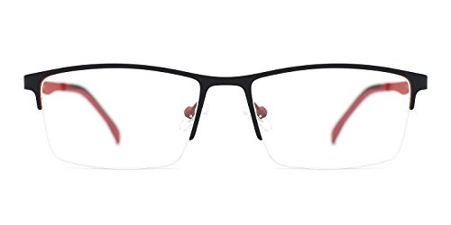 TIJN Classic Thinned-out Rectangle Semi-rimless Eyeglasses Half Rimed - Rimless Rectangle Eyeglasses