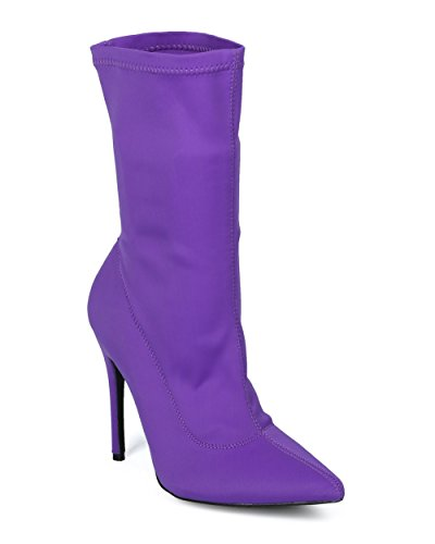 Alrisco Women Stretch Fabric Mid-Calf Pointy Toe Stiletto Sock Boot - HF44 by Top Show Collection - Purple Lycra (Size: (Mid Calf Stiletto Boots)