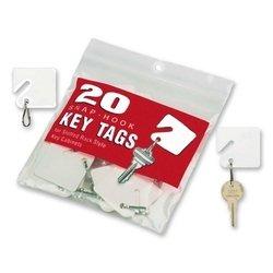 MMF Industries Key Tags, Square, Plain, 20/PK, White -