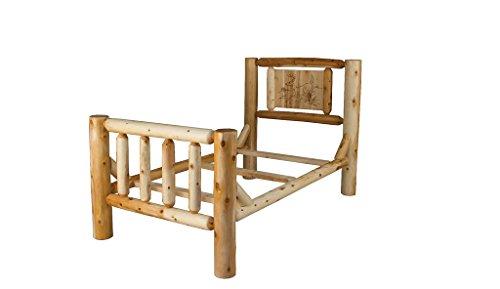 Amazon.com: Rustic White Cedar Log Bed With Wood Burn Headboard ...