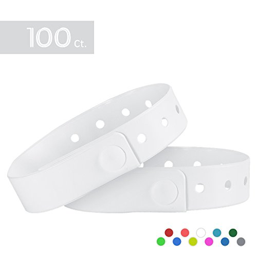 Ouchan White Plastic Wristbands - 100 Pack Wristbands For Events Club Music Meeting Party Festival