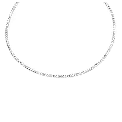 Engagement White Necklace - 14K Yellow Gold 2.0mm Cuban/Curb Link Chain Necklace- Made in Italy-16-30 (White, 10)