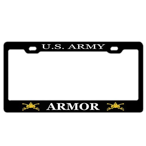 Customized Frames U.S. Army Armor License Plates Frame, Black License Plate Frame Chrome Screw Caps, 2 Holes Aluminum Metal Auto Car License Plate Cover Holder US Vehicles