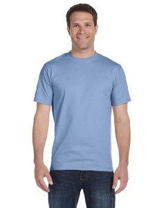 (Men's 5.2 oz Hanes HEAVYWEIGHT Short Sleeve T-shirt Light Blue 3XL)