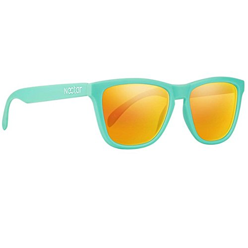 Nectar Kiwi - Teal Wayfarer Polarized Sunglasses with Yellow Sunburst Lenses and UV - Teal Wayfarer Sunglasses