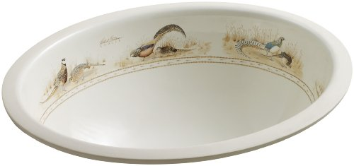 KOHLER K-14218-P-96 Pheasant Design on Caxton Undercounter Bathroom Sink, Biscuit (Kohler Caxton Biscuit)