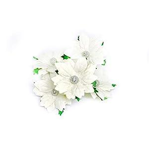 "2"" White Poinsettia Paper Flowers Artificial Poinsettias Flowers Paper Poinsettia Christmas Flowers Fake Poinsettia Flowers Mulberry Paper Flowers, 10 Pieces 2"