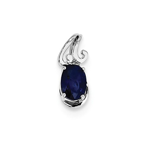 Sterling Silver Diamond & Simulated Sapphire Oval Pendant (6mm x 15mm)