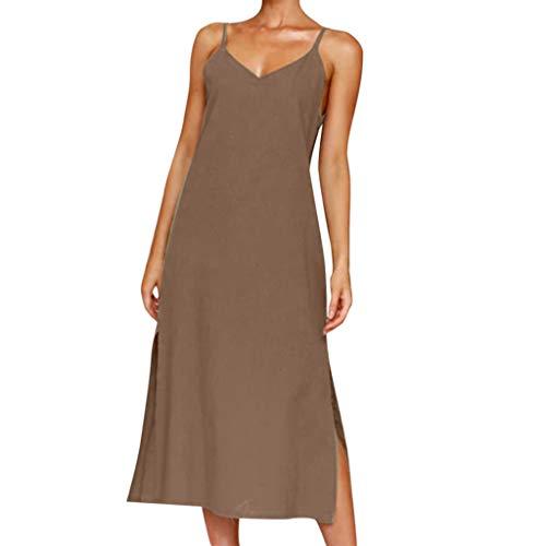 Sundress Short,Fashion Women's Summer Button Dress Evening Dress Sundress Sling Dress, -