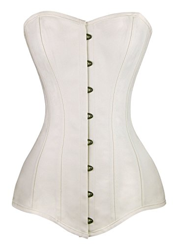 Charmian Women's 26 Steel Boned Cotton Long Torso Hourglass Body Shaper Corset White - Fit Exquisite Corset