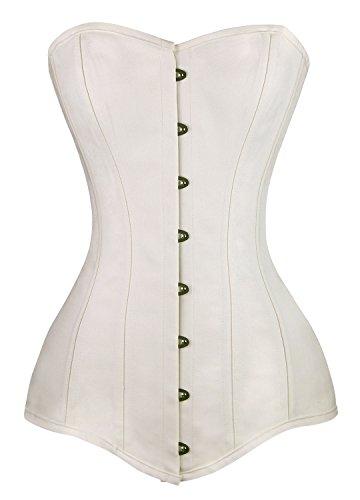 Charmian Women's 26 Steel Boned Cotton Long Torso Hourglass Body Shaper Corset White ()