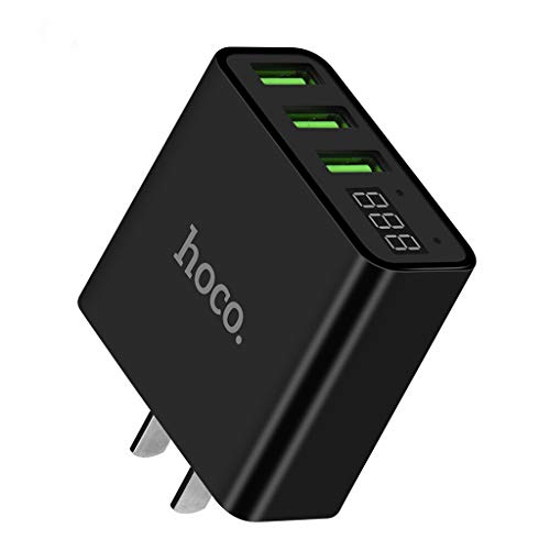 Lljin HOCO C15 Adapter 3-Port 3.0A with LED Display 100% Charging Head (Black)