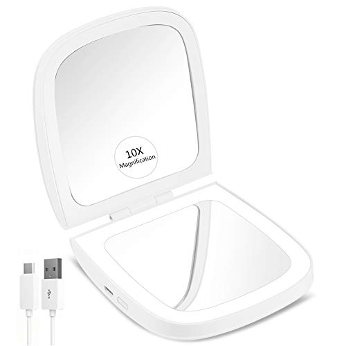 CLSEVXY LED Lighted Travel Makeup Mirror, 1x/10x Magnification – Daylight LED, Rechargeable, Compact, Portable, 4…