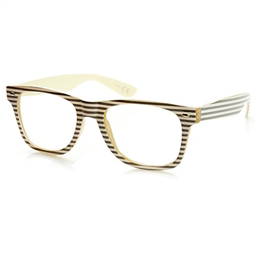 zeroUV - Two-Tone Pastel Striped Clear Lens Horn Rimmed Eye Glasses - Tone Two Eyeglass Frames