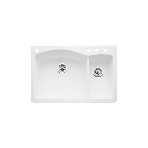 Double 4 Basin (Blanco 440200-4 Diamond 4-Hole Double-Basin Drop-In or Undermount Granite Kitchen Sink, White)
