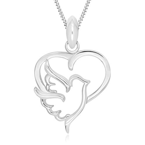 925 Sterling Silver Dove Heart Love of Peace Pendant Necklace 18