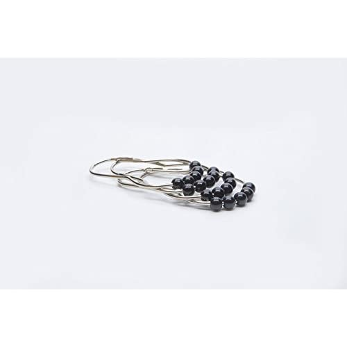 best AMS Shower Curtain Hooks Rings - 100% Stainless Steel - Decorative with Polished Metal Frame,Set of 12 Rings (Black)