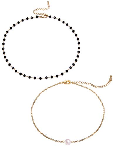 BOMAIL 2 Pieces Set Gold Star Pearl Choker Necklace Lucky Star Dainty Pendant Handmade Disc Chain Statement Necklace for Women Girls