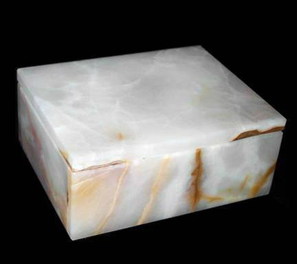 Khan Imports Decorative White Onyx Stone Box, Marble Trinket Box with Lid - 5 - Box Stone Trinket