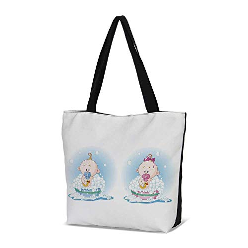 Gender Reveal Stylish Canvas Tote Bag,Cute Girl and Boy Babies in Bath with Bub