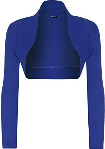 WearAll Women's Shrug Bolero Ladies Stretch Cardigan Top - Royal Blue - US 8-10 (UK 12-14)