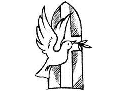 Diseño sello sellos de erstempel * * * Comunión y confirmación Iglesia ventana con paloma