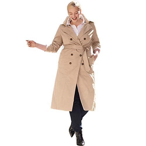 Jessica London Women's Plus Size Double Breasted Long Trench Coat - New Khaki, 18 W