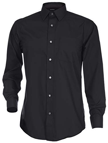 George Men's Classic Fit Long Sleeve Poplin Solid Button-Up Dress Shirts (X-Large Long, Black) ()