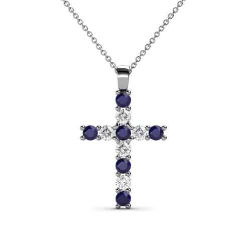 TriJewels Petite Blue Sapphire & Diamond Womens Cross Pendant 0.34 ctw in 14K White Gold with 14K Gold Chain