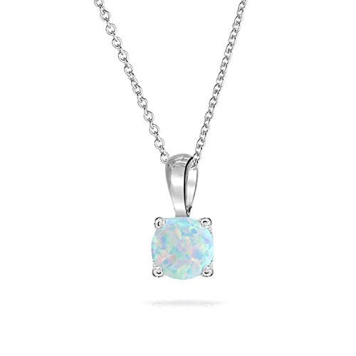 Bling Jewelry Synthetic White Opal solitaire Pendant Rhodium Plated Necklace 16 Inches Synthetic Opal Necklace