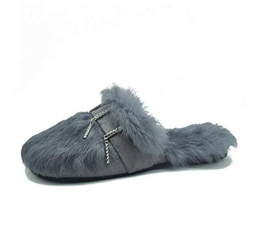 DANDANJIE Zapatillas De La Mujer De Felpa Al Aire Libre Otoño & Invierno Zapatillas Planas De Moda Zapatos para El Hogar Gray