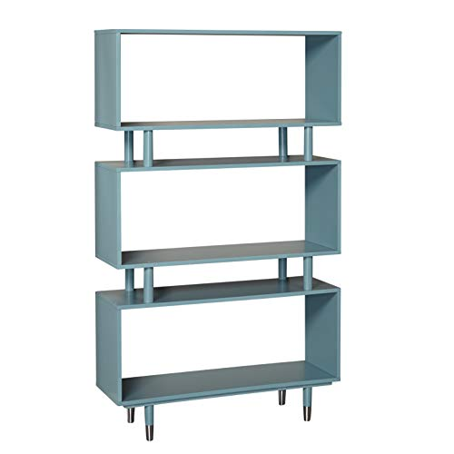 Target Marketing Systems 43000BLU Margo Mid-Century Modern Bookshelf, Antique Blue