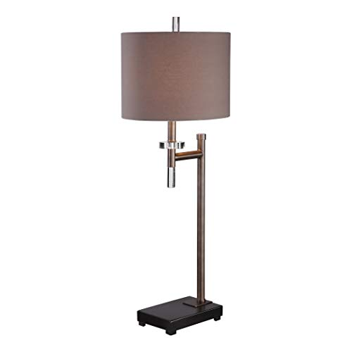 Retro Modern Dark Bronze Arm Buffet Lamp | Chocolate Brown Crystal Blac ()