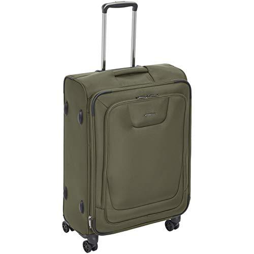 AmazonBasics Expandable Softside Spinner Luggage Suitcase With TSA Lock And Wheels - 25 Inch, Olive